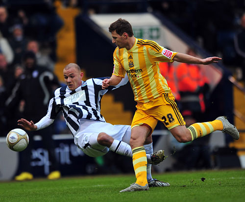 OUT OF THE WILDERNESS: Tamas Kadar, pictured here in action against West Bromwich Albion in the Championship, where he made the majority of his appearances for the Magpies