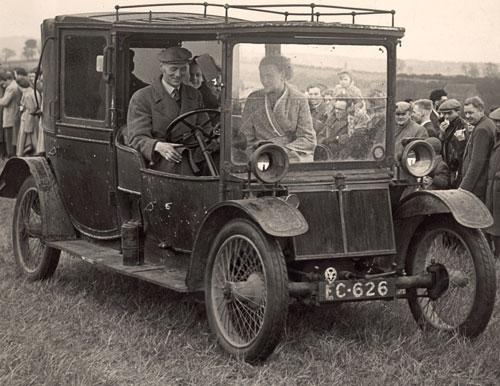 The Northern Echo: SHOW STOPPER: Restored 1910 Lanchester Landaulette in 1954 at a steam rally in Etherley Dene. Neilson Skilbeck is driving, with Mrs McConchie, a Wolsingham doctor's wife, in the passenger seat. Dr McConchie is in the back with Stewart Skilbeck, 6