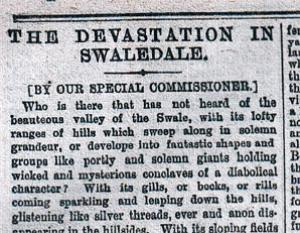 The Northern Echo of March 6, 1883. Headline: The Devastation in Swaledale