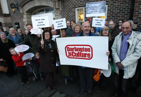 Supporters of The Arts Centre protest outside the Dolphin Centre where a meeting was taking place to discuss its closure last night.