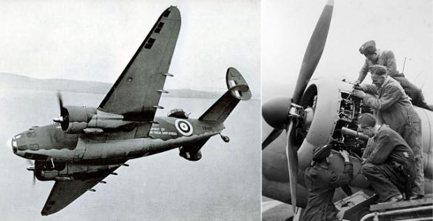 SKY GUARDIAN: RAF Lockheed Hudsons on patrol. Right, groundcrew at RAF Thornaby maintaining a Lockheed Hudson bomber in September 1941