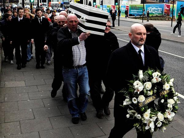 The Northern Echo: Newcastle United supporters hold a mock funeral before the match against Wolves to mourn the loss of St James' Park
