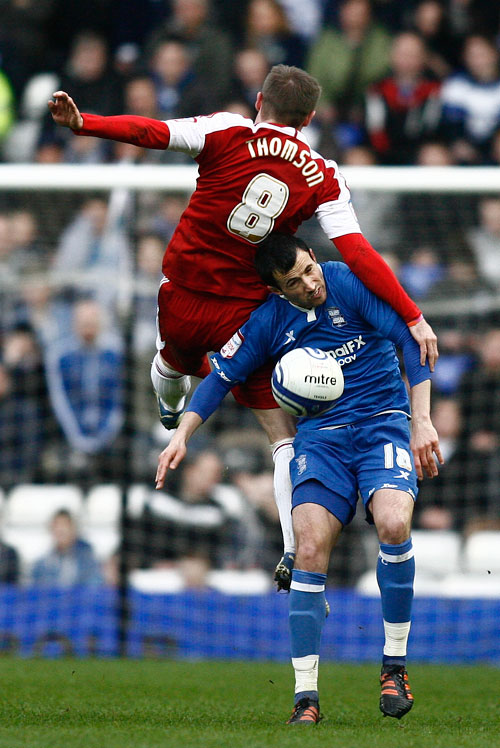 HIGH JUMP: Birmingham's Keith Fahey fails to get off the ground against Boro's Kevin Thomson
