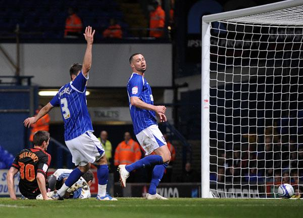 ON TARGET: Lukas Jutkiewicz puts Middlesbrough ahead at Portman Road