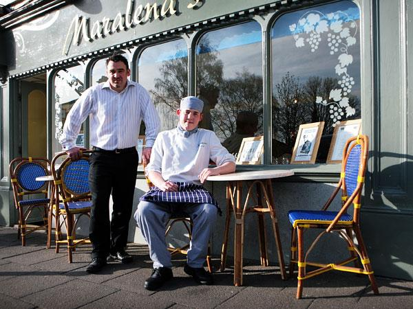 ON JOB LADDER: Salvatore Savino with trainee chef David Hall outside Maralena's restaurant, in Shildon