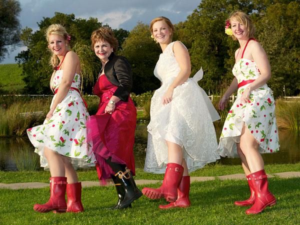 ALL'S WELLY: Emily Wilson enjoys a wedding line-up with a difference