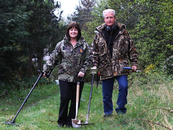 EXCITING FIND: Metal detectorists Sue Jewitt and Graham Duff