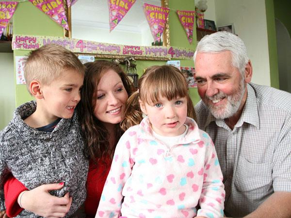 SPEECH PROBLEMS: Katharine Walker, four, pictured with her brother William, six, mother Kirstey and father Will