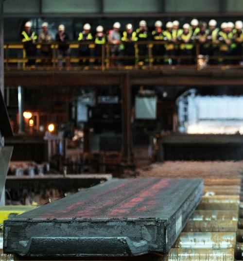 The Northern Echo: The first slab of steel is produced at SSI UK on Teesside.