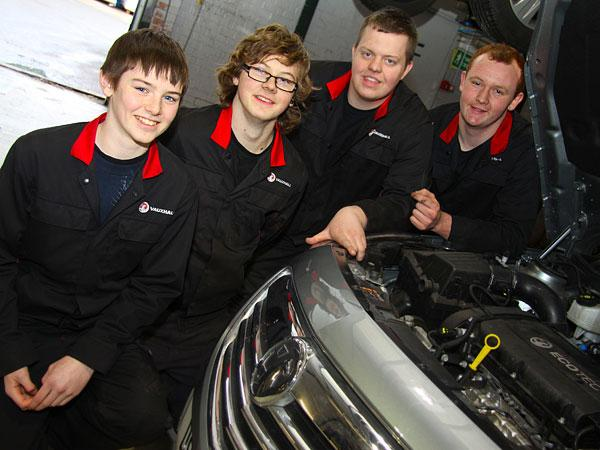 SKILLS TRAINING: Sherwoods' apprentices Michael Jordison, 16, Darren Bean, 17, Dean Alderson, 19, and Matthew North, 18