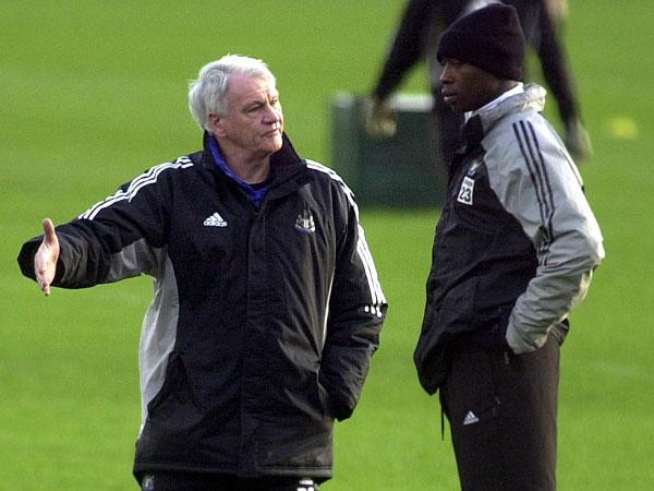 HAPPY MEMORIES: Ameobi gets some training ground advice from Sir Bobby Robson back in 2003 at a time when Newcastle were challenging for a European spot