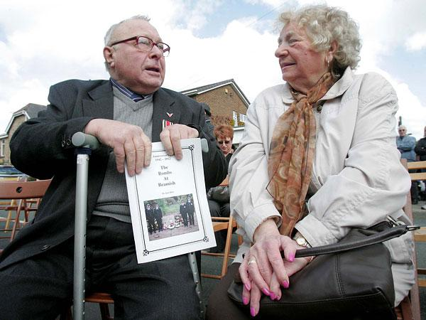 SHARING MEMORIES: Survivors Syd Wears, 80, and Joyce Nichol, 83, talk about the day Beamish was bombed by the Germans at a memorial service over the weekend
