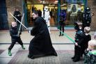 LIGHT BATTLE: Members of costume group 99th Garrison dressed as Star Wars characters for shoppers