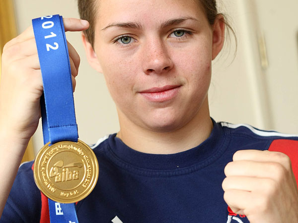 MEDAL GLORY: Savannah Marshall at her mother's house in Hartlepool