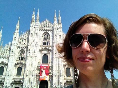 Helen Cook outside Milan Cathedral