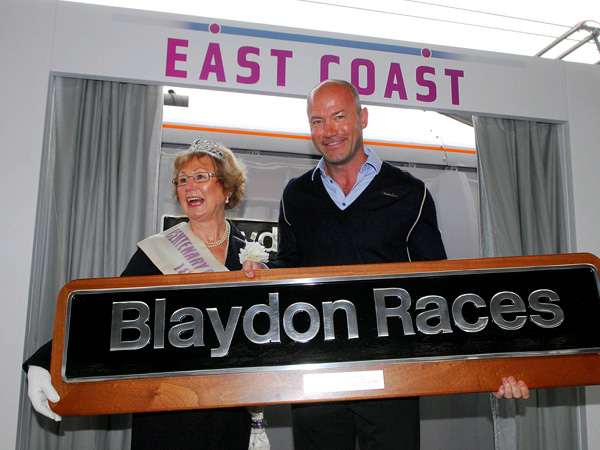 Alan Shearer and Sheila Shorrick-Dodds with the train name plate