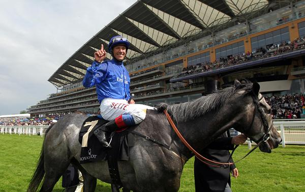 GOLD GLORY: Frankie Dettori celebrates winning the Gold Cup on Colour Vision on day three at Ascot
