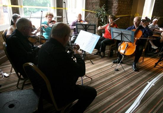 An event to mark the closure of the centre with various things going on. Darlington Orchestra Strings perform.