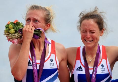 The Northern Echo: Kat Copeland, left, and Sophie Hosking in tears on the Olympic podium.