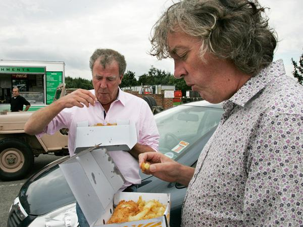 James May, front, and Jeremy Clarkson take lunch during filming in Darlington.