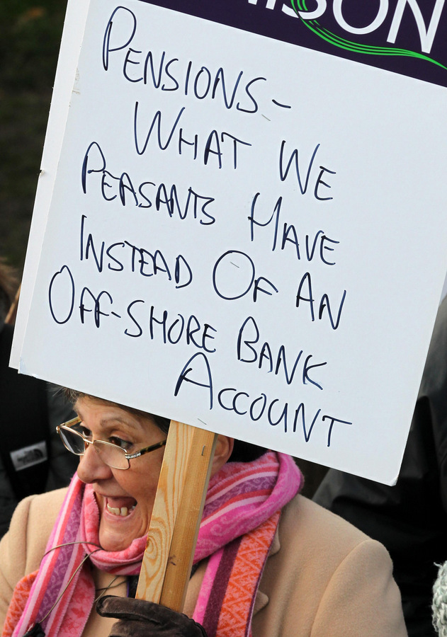 PUBLIC PROTEST: A woman marches in Edinburgh last year in protest at pension cuts