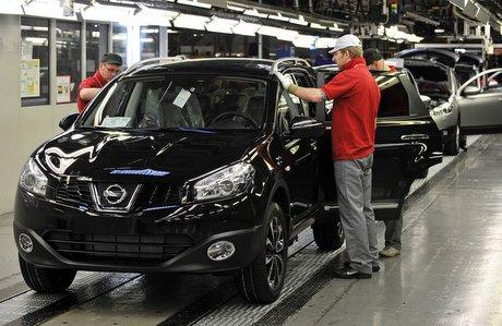 MOTORING ON: New cars roll off the production line at Nissan