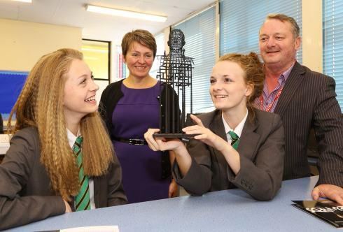 The Northern Echo: Woodham Academy pupils Keavy Gales and Maddie Ford admire a model of The Aycliffe Head, as head