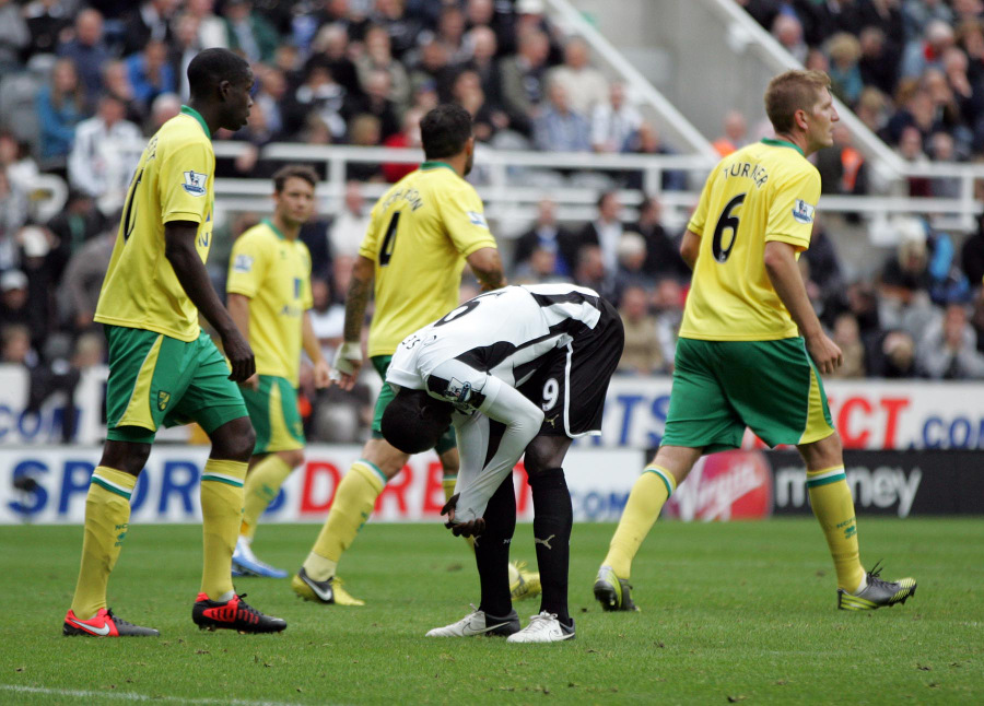 MISFIRING: Papiss Cisse after missing his penalty against Norwich on Sunday.