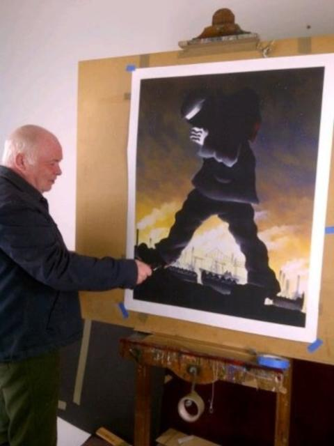 Middlesbrough-born artist Mackenzie Thorpe at work.