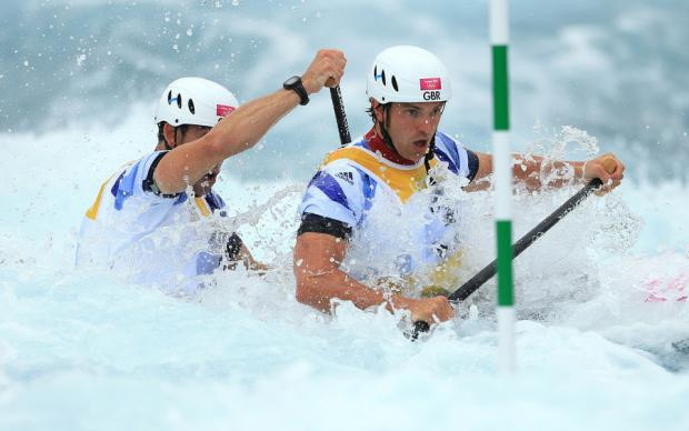 GOLDEN MOMENT: Great Britain's Tim Baillie and Etienne Stott on their way to a gold medal at Lee Valley White Water Centre