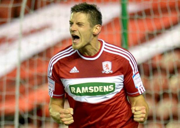 The Northern Echo: HELD AT HOME: Lukas Jutkiewicz made it 1-1 while his second goal of the night put Boro ahead