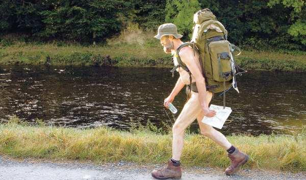 HEADING TO THE NORTH-EAST: Naked Rambler Stephen Gough sets off near Selkirk, in the Scottish Borders, on his way to England after his release from prison in Scotland