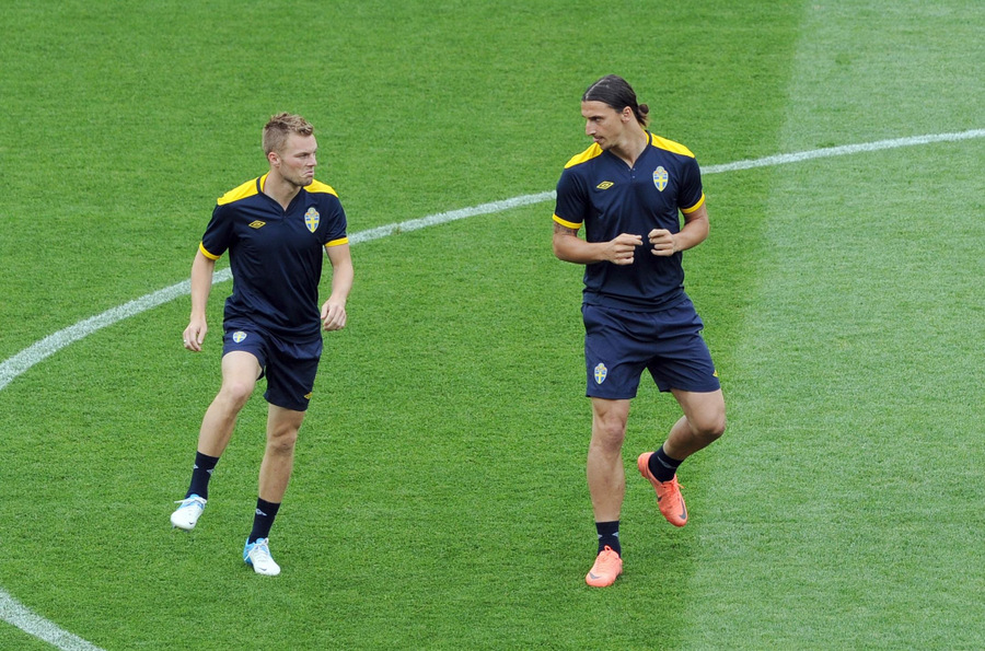 Top Swedes: Seb Larsson, left, with Zlatan Ibrahimovic during Euro 2012