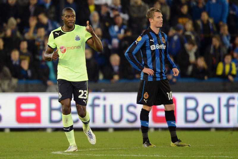 THUMBS UP: Newcastle United's Shola Ameobi celebrates levelling the scores at 2-2 just before the break against Club Brugge