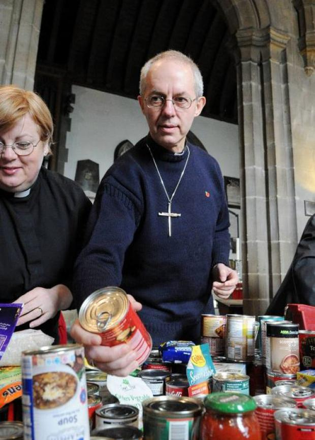 "Right Revd. Justin Welby at Sunderland Minster where he launched the food parcel initiative ""One For the Basket."""