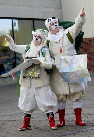 Performers Fiona Manson and Eilidh MacAskill from Fish and Game are two lost polar bears taking part in events at Millennium Place in Durham.