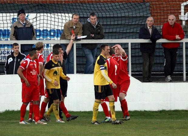 HEATED MOMENT: Darlington's Darren Richardson is shown the red card in their clash against West Auckland on Saturday