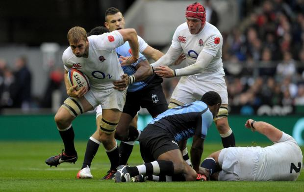 PUSHING ON: England's Chris Robshaw during the QBE International match against Fiji at Twickenham on Saturday