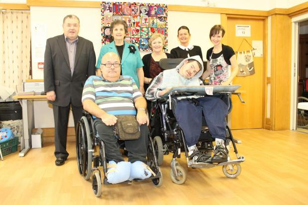 County Councillors John Bailey and Patricia Jopling with residents and staff