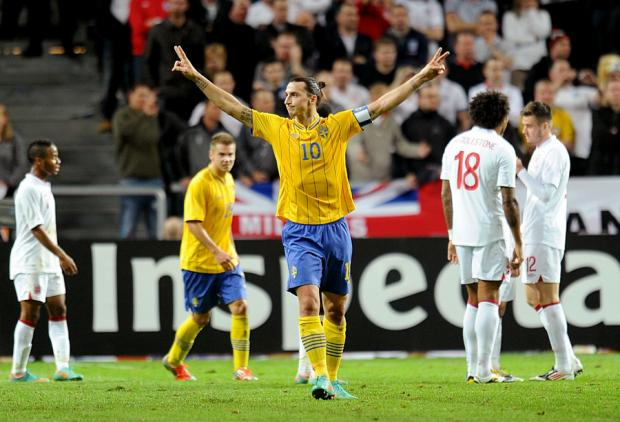 Sensational Sweden striker Zlatan Ibrahimovic celebrates scoring the third of his four goals in last night's 4-2 win against England