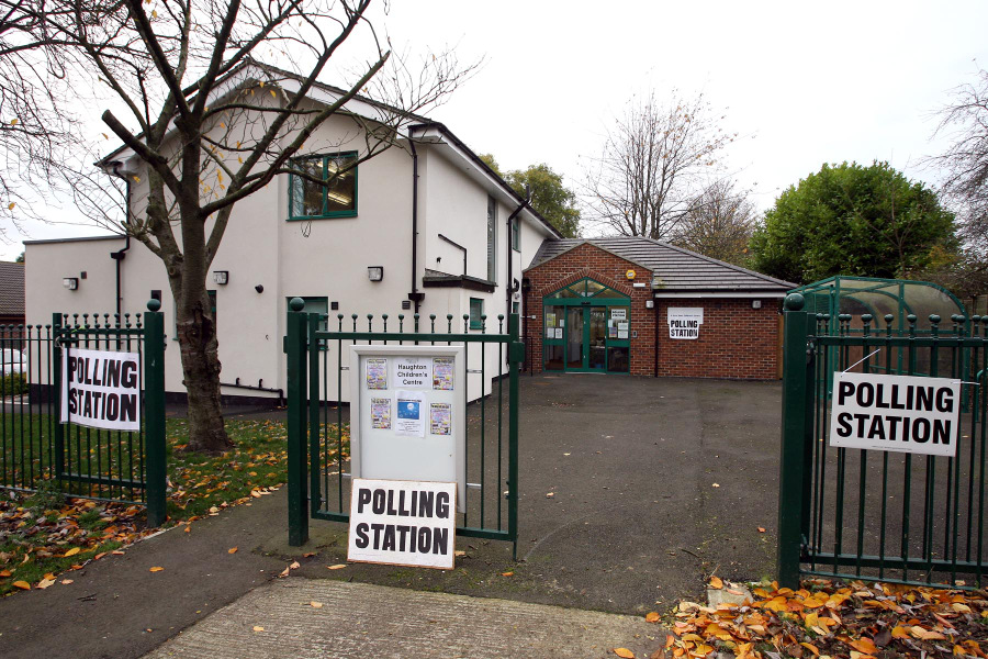 Polling station at Haughton Children's Centre, in Darlington