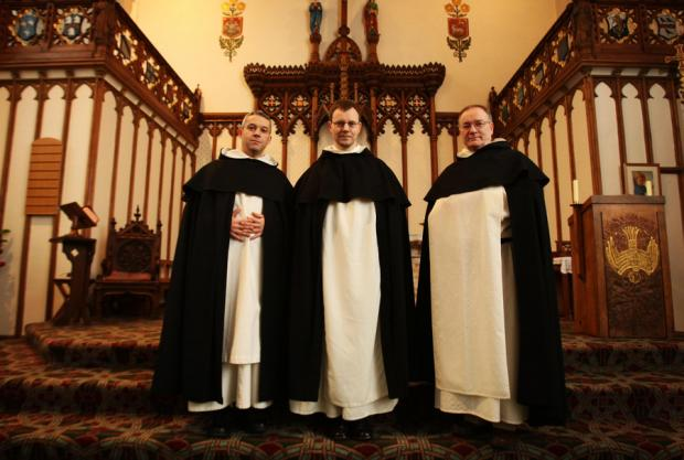 NEW COMMUNITY: From left, Fr Thomas Skeats, Fr Benjamin Earl and Fr John Patrick Kenrick at their new home in St Cuthbert's Church, Durham