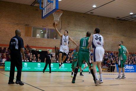 GOING IN: Ralph Bucci in action in the BBL Basketball game against Plymouth Raiders