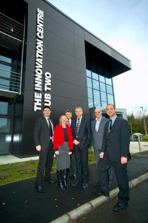 FIRM EXPANDS: from left, UK Steel Enterprise's Simon Hamilton, Durable Technologies' Lorraine Carter, Hartlepool Council's Antony Steinberg, Durable Technologies' Alex Carter, Tees Valley Unlimited's Stephen Catchpole and Hartlepool Mayor Stuart Drummon