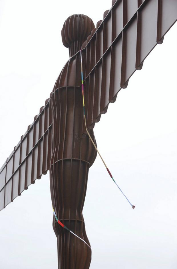 WINTER WONDER: The knitted scarf wrapped around the Angel of the North