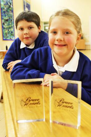 HONOURS GIVEN: Lucy White and Thomas Atherton, who each received a Brave Hearts award