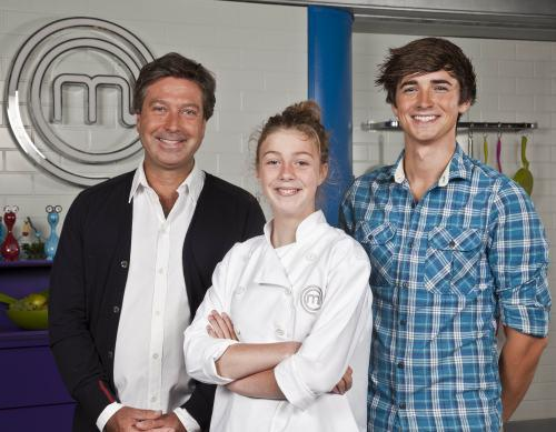 Josie Broom pictured with MasterChef judge, John Torode, and food blogger, Donal Skehan
