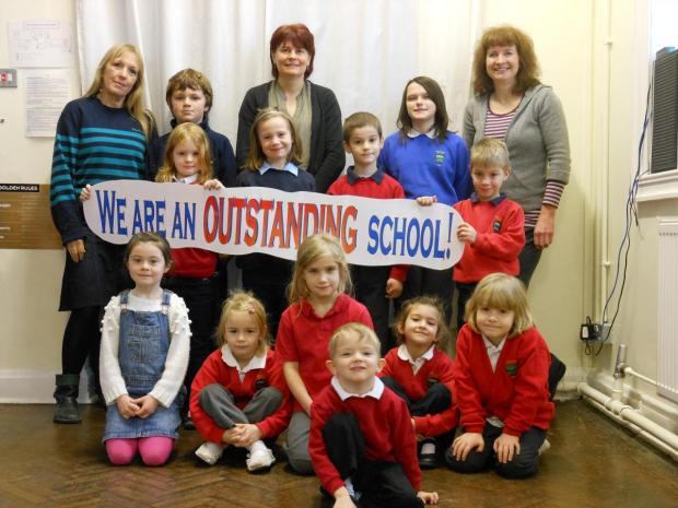Staff and students at Wearhead Primary School celebrate being outstanding