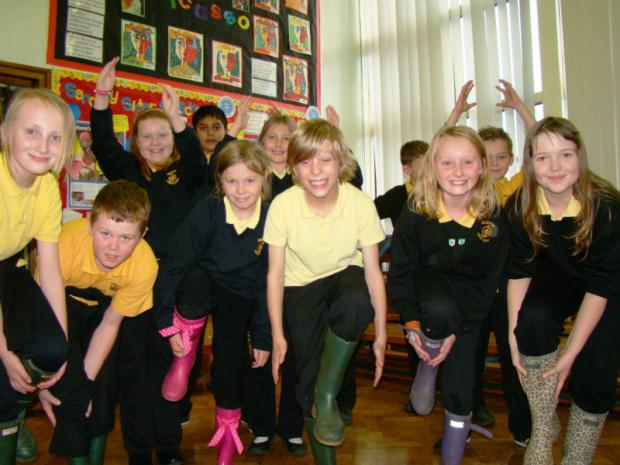 Year Six youngsters from Ouston Junior School enjoy South African gum boot dancing