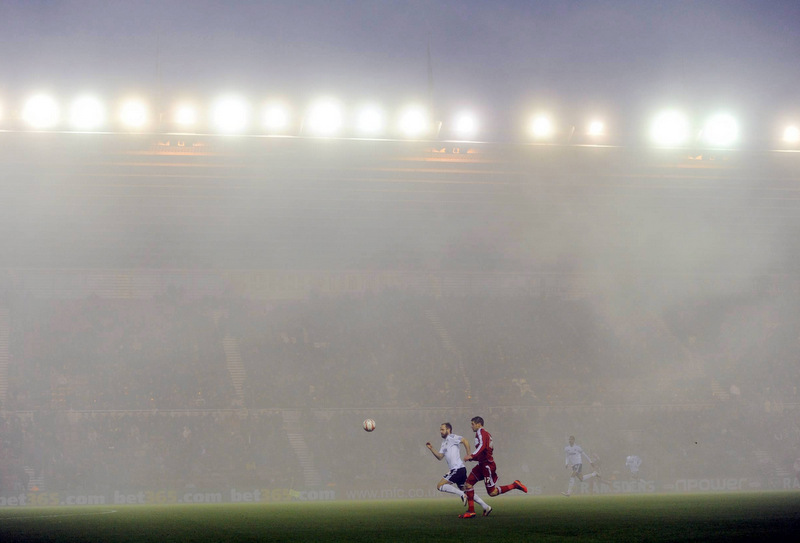 RIVERSIDE GLOOM: A blanket of fog shrouded the Riverside Stadium on Saturday as Middlesbrough fell to a surprise 3-1 home defeat to Bristol City. Tony Mowbray's men sit in fourth spot in the Championship table